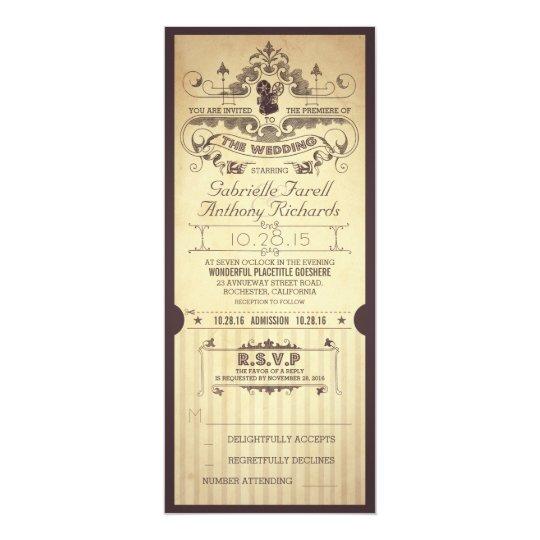 Vintage retro movie tickets wedding invitations zazzle vintage retro movie tickets wedding invitations stopboris Images
