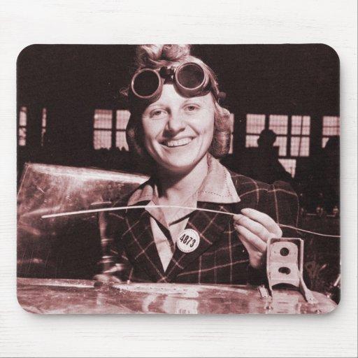 Vintage retro mujeres Rosie la hermana del remacha Tapete De Raton