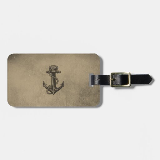 Vintage Retro Nautical Anchor Antique Brown Grunge Luggage Tags