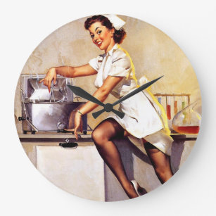 Vintage Retro Nurse Pin Up Girl Large Clock