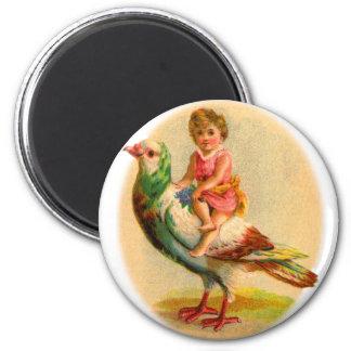 Vintage Retro Odd Kitsch Little Girl Riding a Bird 2 Inch Round Magnet