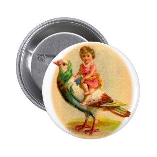 Vintage Retro Odd Kitsch Little Girl Riding a Bird Pin