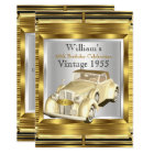 Vintage Retro Old Car Gatsby Deco Party Card