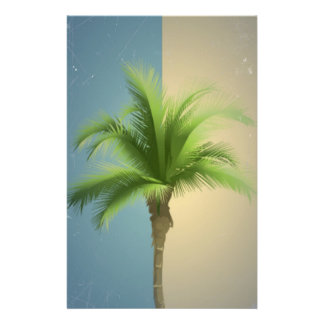 Vintage Retro Palm Tree Turquoise Blue Cream Sepia Flyer