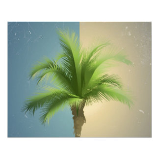 Vintage Retro Palm Tree Turquoise Blue Cream Sepia Personalized Flyer