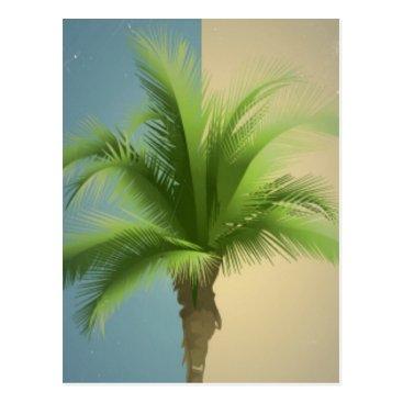 Beach Themed Vintage Retro Palm Tree Turquoise Blue Cream Sepia Postcard