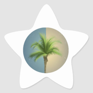 Vintage Retro Palm Tree Turquoise Blue Cream Sepia Star Sticker
