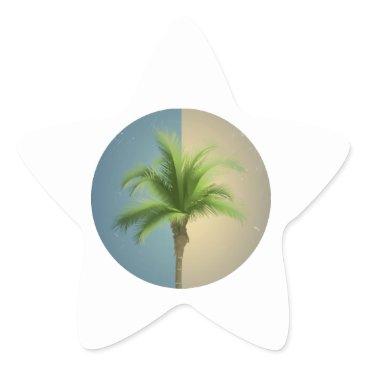 Beach Themed Vintage Retro Palm Tree Turquoise Blue Cream Sepia Star Sticker