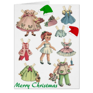 Vintage Retro Paper Doll Card and Games