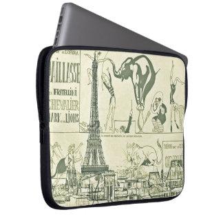 Vintage Retro Paris Circus Eiffel Tower Design Laptop Computer Sleeve
