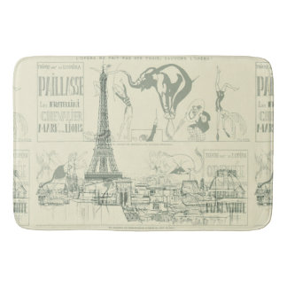 Vintage Retro Paris Circus Eiffel Tower Designer Bath Mat
