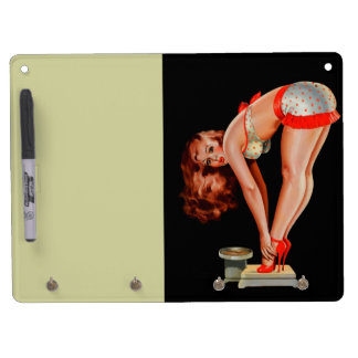 Vintage Retro Peter Driben Pinup Girl on Scale Dry Erase White Board