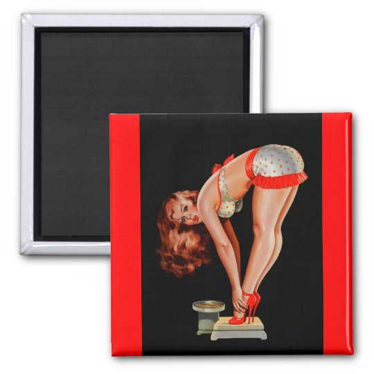 Vintage Retro Peter Driben Pinup Girl on Scale Magnet