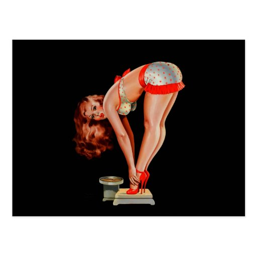 Vintage Retro Peter Driben Pinup Girl on Scale Post Cards