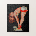 Vintage Retro Peter Driben Pinup Girl on Scale Jigsaw Puzzles