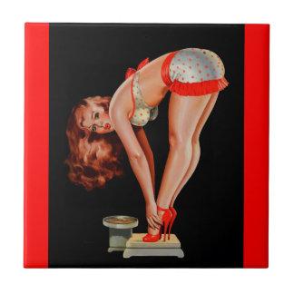 Vintage Retro Peter Driben Pinup Girl on Scale Ceramic Tiles