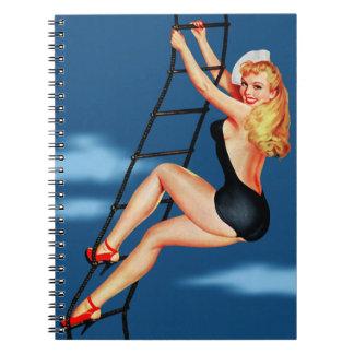 Vintage Retro Peter Driben Sailor Pinup Girl Spiral Notebook