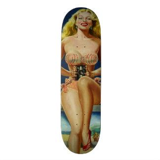 Vintage Retro Peter Driben Summer Beach pinup girl Skateboard