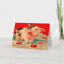 Vintage Retro Pig Bacon Valentine Card