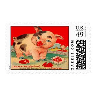 Vintage Retro Pig Bacon Valentine Card Postage Stamp