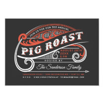 Vintage Retro Pig Roast Invitations