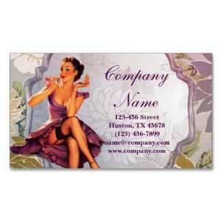 vintage retro pin up girl makeup artist business card magnet