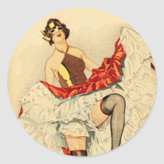 Vintage Retro Pin Up Pinup Showgirl French Dancer Classic Round Sticker