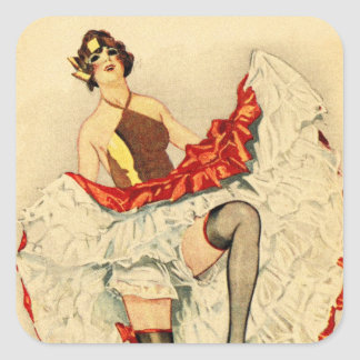 Vintage Retro Pin Up Pinup Showgirl French Dancer Square Sticker