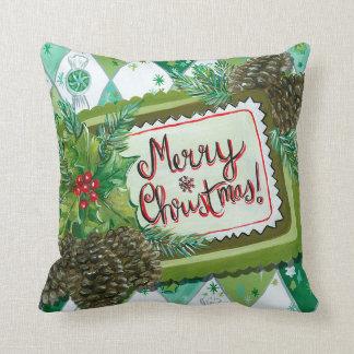 Vintage retro pinecone Christmas decor pillow