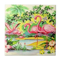 Vintage Retro Pink Flamingo Birds Flocking Tile