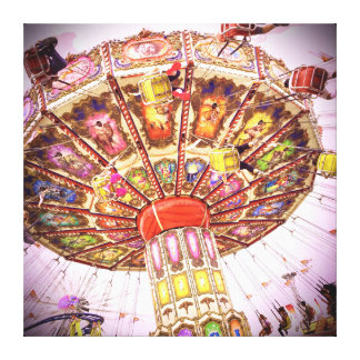 Vintage, retro pink sky carnival swing ride photo canvas print
