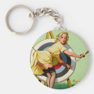 Vintage Retro Pinup Art Gil Elvgren Pin Up Girl Basic Round Button Keychain