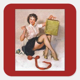 Vintage Retro Pinup Art Gil Elvgren Pin Up Girl Square Sticker
