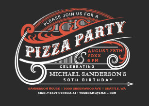 Vintage Retro Pizza Party Invitations