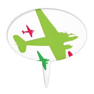 Vintage Retro Planes In Formation Cake Topper