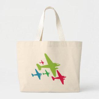 Vintage Retro Planes In Formation Canvas Bags