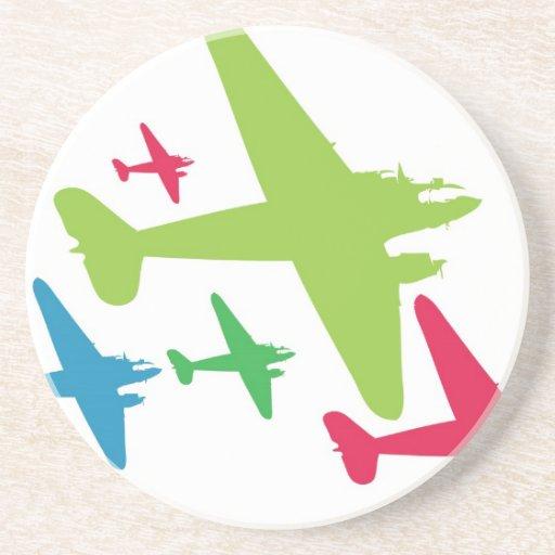 Vintage Retro Planes In Formation Coaster