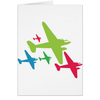 Vintage Retro Planes In Formation Greeting Card