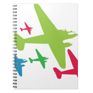 Vintage Retro Planes In Formation Notebooks