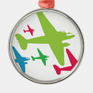 Vintage Retro Planes In Formation Round Metal Christmas Ornament