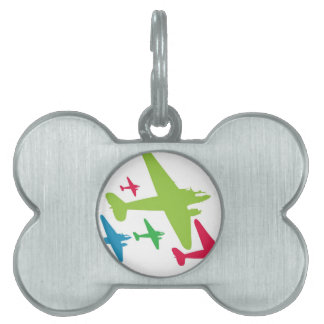 Vintage Retro Planes In Formation Pet ID Tags
