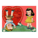 Vintage Retro Playing Outdoors Valentine Card