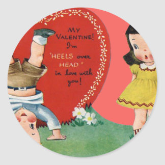 Vintage Retro Playing Outdoors Valentine Card Classic Round Sticker