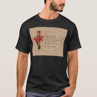 Vintage Retro Poinsettia Christmas Card T-Shirt