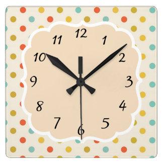 Vintage Retro Polka Dot Square Wall Clock