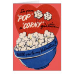 Vintage Retro Popcorn Valentine Card