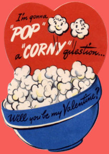Vintage Retro Popcorn Valentine Holiday Card