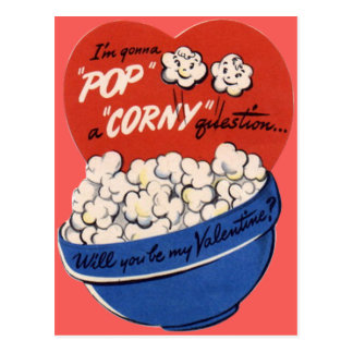 Vintage Retro Popcorn Valentine Postcard