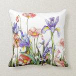 Vintage Retro Poppies & Iris Flowers Garden Throw Pillow