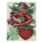 Vintage Retro Poppy Plant Valentine Card Postcards